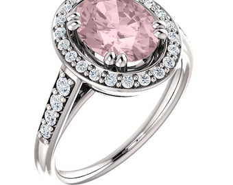 Natural AAA 10x8mm Oval  Morganite  Solid 14K White Gold Diamond halo Engagement Ring Set-ST233318