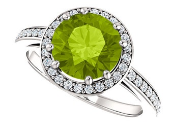 Natural  Green Peridot Solid 14K White Gold Diamond engagement  Halo Ring