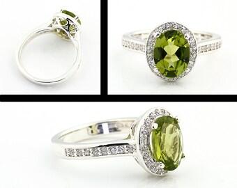 Natural  Green Peridot Solid 14K White Gold Diamond Halo  Engagement  Ring