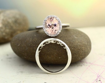 Bridal Set Floral Design Morganite Oval 10x8mm Wedding Set 14K White Gold  With Floral Band (Other metals & stone options available) Gem1121
