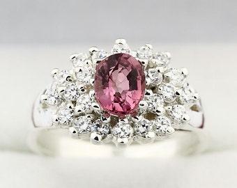 Natural  Pink Tourmaline Solid 14K White Gold Diamond Ring