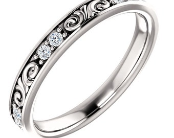 Stackable 14kt White  ,Rose or Yellow Gold  Floral Sculptural Diamond Eternity Band Ring  ST233645