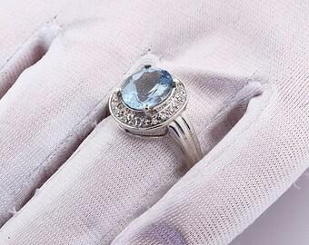 Natural AAA blue aquamarine  Solid 14K White Gold diamond Ring-Gem35