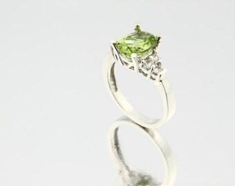 Natural Green Peridot Solid 14K White Gold Diamond Ring---Gem44