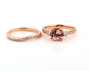 Natural  Round Pink Morganite  Solid 14K Rose Gold Diamond engagement  Ring set - Gem838