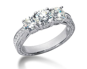 1.25Ct 3 Stones Brilliant Cut Moissanite Solid 14K White Gold Vintage  Style  Engagement Ring ENR7592