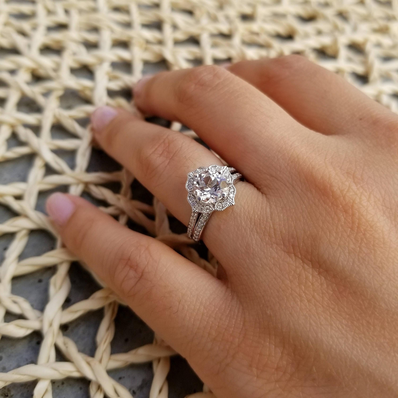 Natural Aaa White Topaz Diamond Engagement Ring Set Diamond Wedding Set Vintage Floral Ring Set In 14k White Gold 7mm Round Gem1224