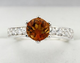 Natural 7mm Yellow Citrine Solid 14K White Gold Diamond Ring