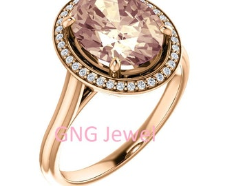 Natural AAA 10x8mm Oval  Morganite  Solid 14K rose  Gold Diamond halo Engagement Ring Set-ST82837