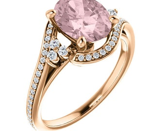 9x7mm AAA Fancy Pink Morganite  Solid 14K Rose Gold Diamond engagement  Ring Set ST233774 ( Other metals and stone options available)