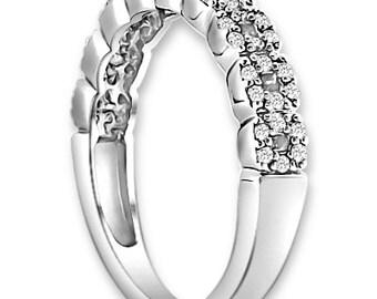 14K White/Yellow/Rose  Gold  Natural Round Diamond Wedding Band  Aniversary Ring ENS4138