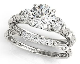 Certified Forever One Moissanite 3 stone Vintage Engagement Ring Set,Round Brilliant Cut Diamond Simulant Wedding Ring -14K White Gold-G1356