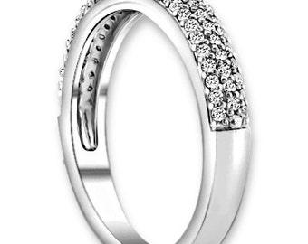 14K White/Yellow/Rose  Gold  Natural Round Diamond Wedding Band  Aniversary Ring ENS4213