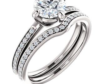 1ct Forever Brilliant Moissanite Solid 14K White Gold   Engagement  Ring Set  - ST233469