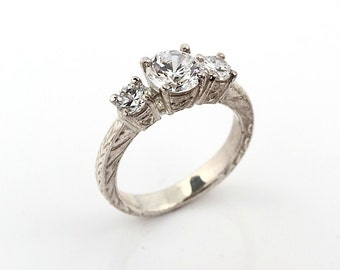 Stunning 1.73 cts White Sapphire Solid  14k white Gold Three Stone Ring
