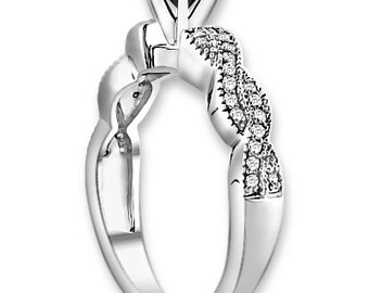 Natural  AAA 1.25 ct  Black & White  Diamond  Engagement Ring In 14K White / Yellow / Rose Gold ENS4142
