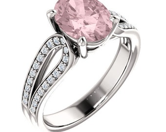 Natural AAA 10x8mm Oval  Morganite  Solid 14K White Gold Diamond Engagement Ring Set-ST82763