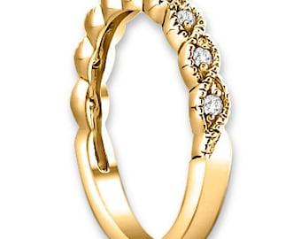 Vintage  Style Diamond  twisted milgrain pattern  14K White/Yellow/Rose  Gold half  Eternity Wedding Band Ring Aniversary Ring ENS4163