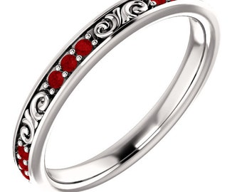 Stackable 14kt White  ,Rose or Yellow Gold  Floral Sculptural Ruby Eternity Band Ring  ST233645  *****On Promotion*****