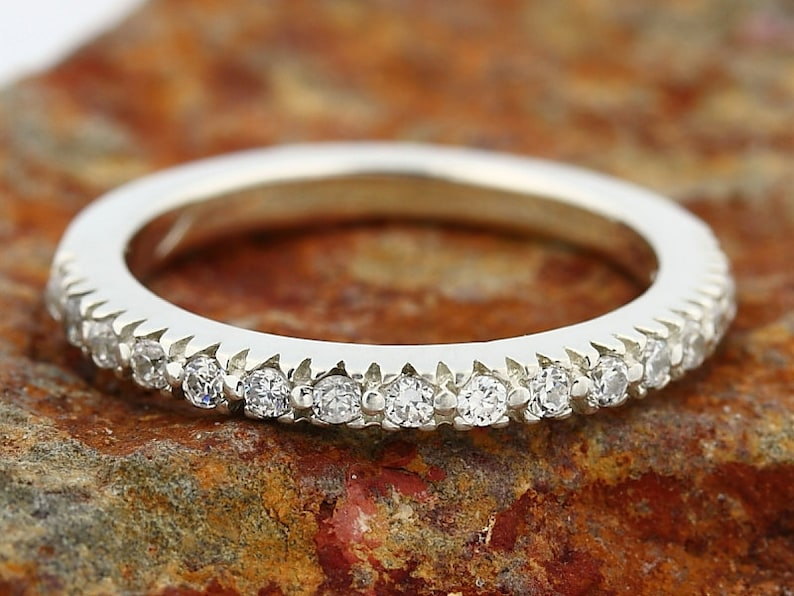 Special OFFER Natural Diamond Wedding Band Ring 14k White Gold image 0