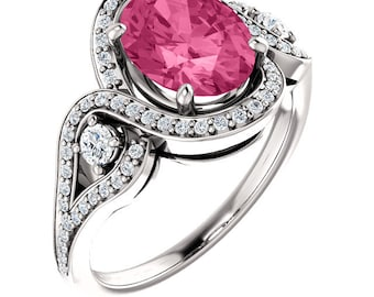 Natural AAA 9x7mm Oval  Tourmaline Solid 14K White Gold Diamond halo Engagement Ring Set-ST233568