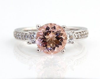 Natural AAA 8MM Round Pink Morganite  Solid 14K White Gold Diamond engagement  Ring - Gem838