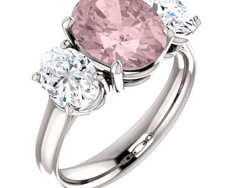 Natural AAA 10x8mm Oval  Morganite  Solid 14K White Gold  3 stones Engagement Ring Set-ST82714