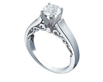 1 ct Forever Brilliant Moissanite  Solid 14k white gold Antique Floral Style diamond Engagement Ring- Ov61931