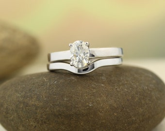 7x5mm Oval Forever One (GHI) Moissanite Solid 14K White Gold  Simple Engagement  Ring Set - ST82770