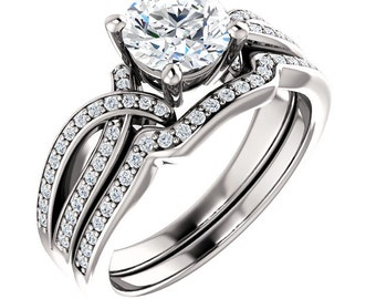 1ct Forever One (GHI) Moissanite Solid 14K White Gold   Engagement  Ring Set  - ST233777(Other metals and stone options available)