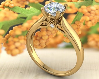 Solid 14K Gold 1.00CT Round Moissanite (DEF) Engagement Ring Gift For Her