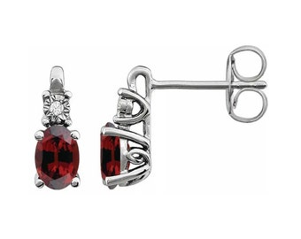 14K White Natural Garnet  &  Diamond Accented Earrings