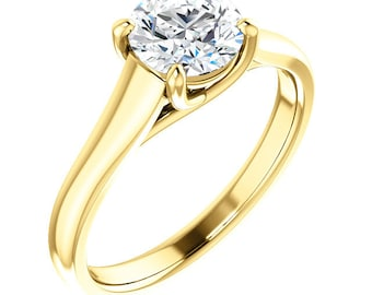 Certified  Forever One Moissanite Engagement Ring ,Round Brilliant Cut Diamond Simulant Wedding TRELLIS Style Ring In Solid 14K Yellow Gold