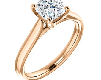 Certified  Forever One Moissanite Engagement Ring ,Cushion Cut Diamond Simulant Wedding Ring In Solid 14K Rose Gold