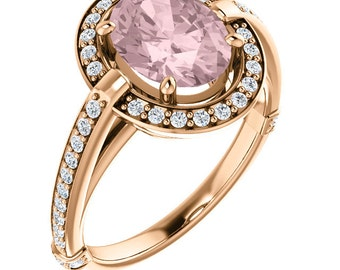 Natural AAA 9x7mm Oval  Morganite  Solid 14K Rose Gold Diamond halo Engagement Ring Set-ST233588
