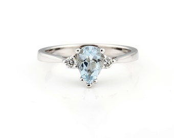 Natural blue Aquamarine Solid 14K White Gold Diamond Ring