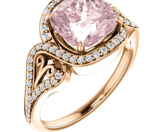 Natural AAA 8mm Antique Cushion Cut Morganite  Solid 14K Rose Gold Diamond Engagement halo  Ring Set - ST233631