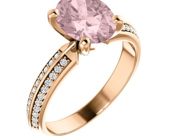 9x7mm AAA Fancy Pink Morganite  Solid 14K Rose Gold Diamond engagement  Ring Set ST233811 ( Other metals and stone options available)