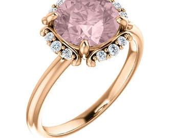 Natural AAA 8mm Round Morganite  Solid 14K Rose Gold Diamond halo Engagement Ring Set-ST233348