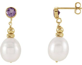 14K Yellow Gold Freshwater Cultured Pearl and Amethyst Topaz Earrings