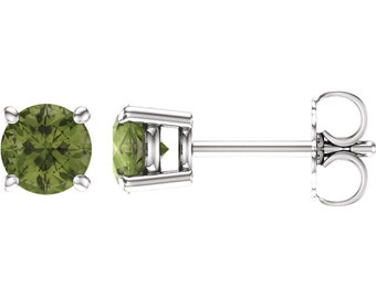 Pair 6mm Round Natural Peridot /Swiss blue Topaz /Sky Blue Topaz/Onyx/Smoky Quartz 4 Prong Stud Earrings In White Gold ST2985  *Special *