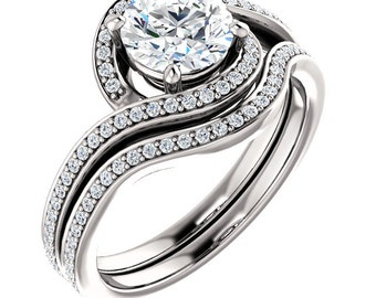 1ct Forever One (GHI) Moissanite Solid 14K White Gold   Engagement  Ring Set  - ST233770 (Other metals and stone options available)