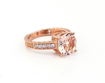 Stunning AAA Natural Round Morganite  Solid 14K Rose Gold Diamond engagement Ring-antique style