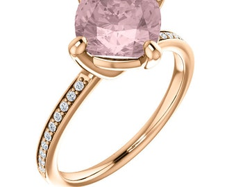 Natural AAA 8mm Antique Cushion Cut Morganite  Solid 14K rose  Gold Diamond Engagement Ring Set - ST233469