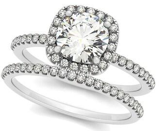1ct  6.5mm Forever One (GHI) Moissanite Solid 14K White Gold  Halo  Engagement  Ring Set  - OV61904