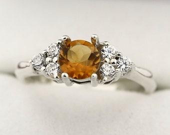 Yellow Citrine Solid 14K White Gold Diamond Ring