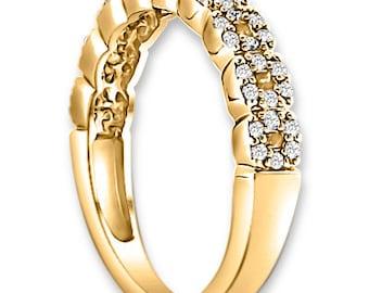 14K Yellow /White / Rose  Gold  Natural Round Diamond Wedding Band  Aniversary Ring ENS4138