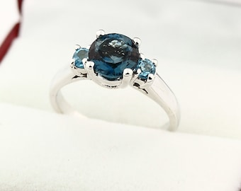 7mm Round Natural London blue, sides Swiss blue topaz Solid 14K White Gold Ring