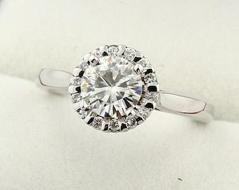 1ct Forever One (GHI) Moissanite Solid 14K White Gold Diamond  Engagement  Ring Set - ENS2061
