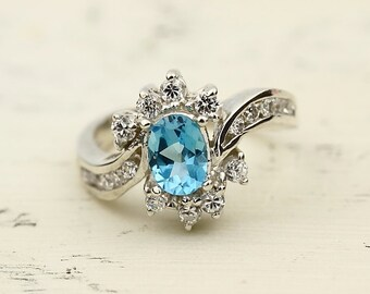 Natural  VVS Swiss Blue Topaz Solid 14K White Gold Diamond  Ring